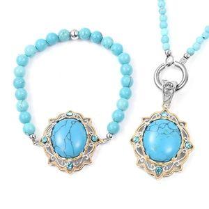 Jewelry - Blue Howlite Necklace, Pendant and Bracelet Set